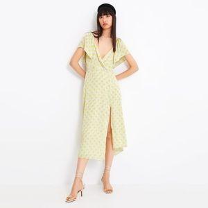 Zara Yellow Polka Faux Wrap Dot Midi Dress W/ Slit